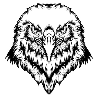 The illustration of the tattoo of the eagle head with good animation
