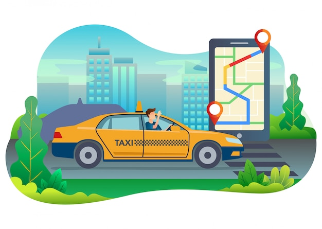 Illustration of a taxi driver searching a location of his customer