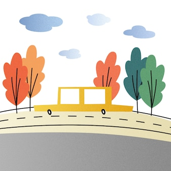 Illustration of a taxi driving on the road