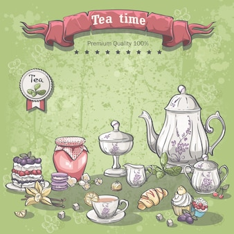 Illustration of a tea set with a jar of jam, muffins, pies and croissants