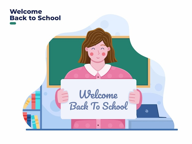 Illustration of teacher welcomes students back to school with happy at classrooms
