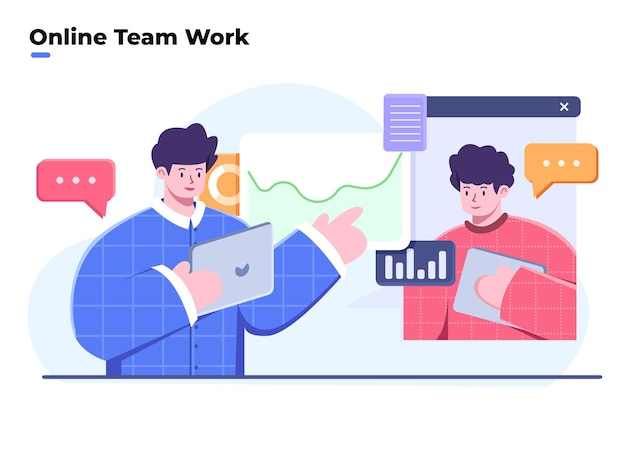 Illustration of team work and business analyze with video conference or online meeting