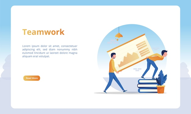Illustration of teamwork for business landing page templates