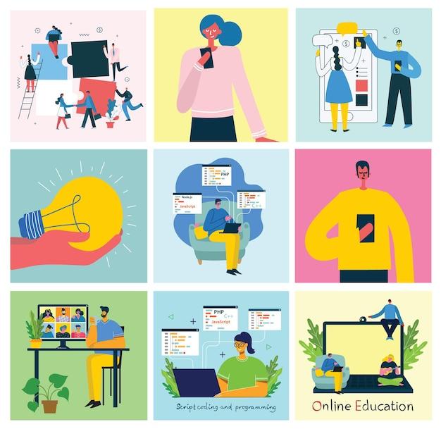 Illustration of teamwork in flat design