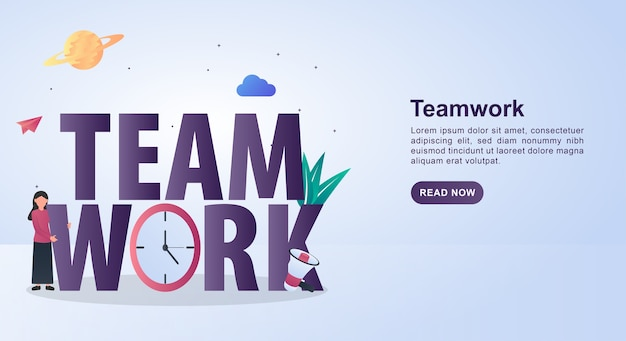 Illustration  of teamwork with clock and megaphone.