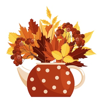 Illustration of a teapot with a bouquet of autumn leaves the concept of thanksgiving