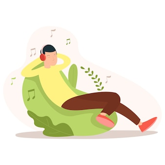 Illustration of a teenager listening a music while sitting on a chair in the morning