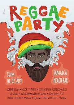 Illustration, template of advertising poster for reggae music concert or party. black man in rasta hat making smoke cloud. rastaman smoking marijuana.