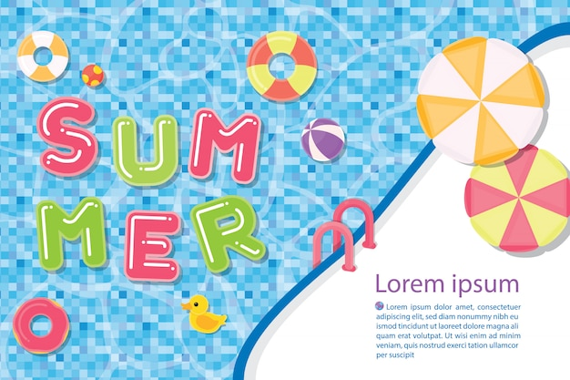 Illustration template summer template with pool