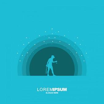 Illustration of tennis logo design, golf silhouette Premium Vector