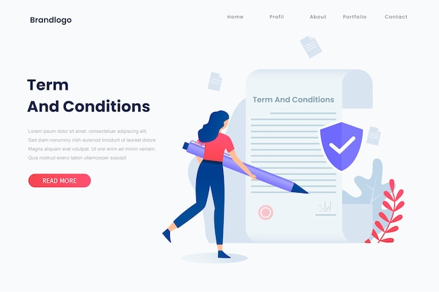 Illustration of terms and conditions concept. landing page