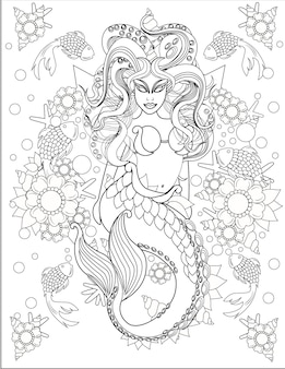 Illustration of terrifying mermaid swimming along with little fishes under water mythical