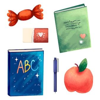 Illustration textbooks, notebook, apple, eraser, candy, pen, back to school