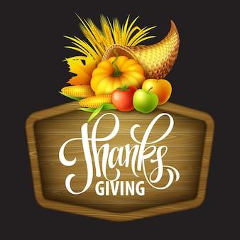 Illustrazione di una cornucopia del ringraziamento piena di frutta e verdura del raccolto. disegno di saluto autunnale. celebrazione del raccolto autunnale. zucca e foglie. illustrazione vettoriale eps10