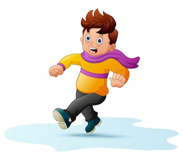 暖かい服を着た少年が怖がって走ったイラスト