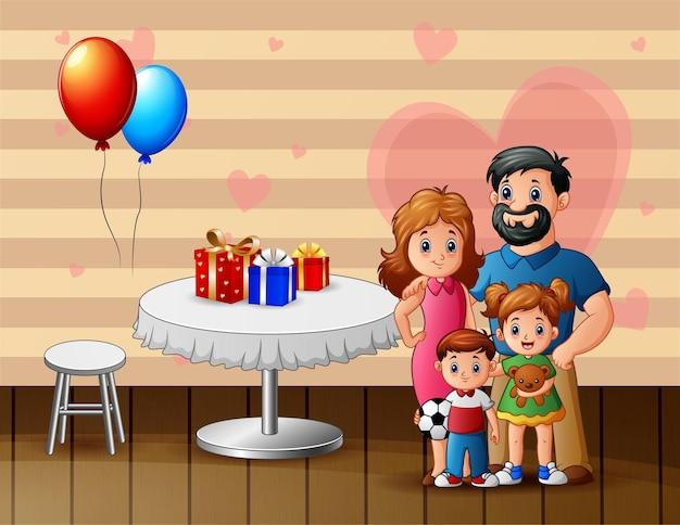 家族がバレンタインデーを祝うイラスト
