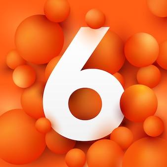Иллюстрация числа 6 на оранжевом шаре.