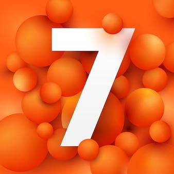 Иллюстрация числа 7 на оранжевом шаре.