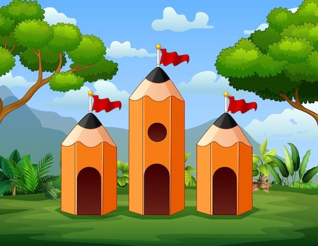 Иллюстрация трех карандашный домик на фоне природы
