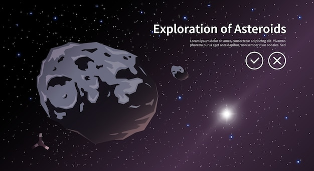 Illustration on the theme: astronomy, space flight, space exploration, colonization, space technology. the web banner. asteroids