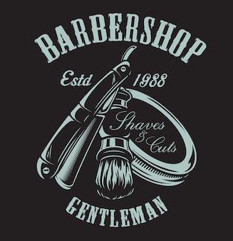 Illustration on the theme of barbershop with a razor and shaving brush on the dark background.
