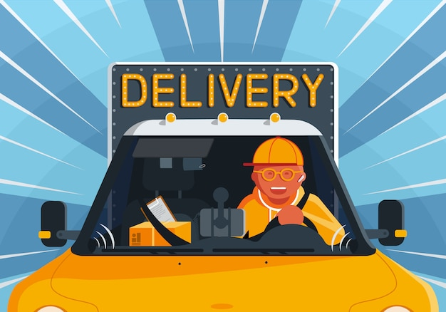 Illustration on the theme of delivery service with happy courier man driving a truck.