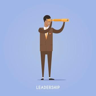 Illustration on the theme: startup, team, teamwork, business planning success leadership