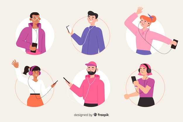 Illustration theme with people listening music
