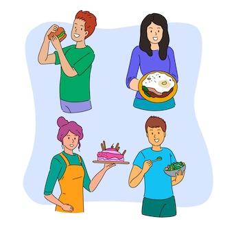 食べ物を持つ人々とイラストのテーマ
