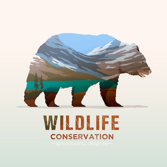 Illustration on the themes of wild animals of america, survival in the wild, hunting, camping, trip. mountain lamdscape. bear.