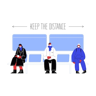 Illustration of three characters seating on public transport covering faces with masks staying away from each other.