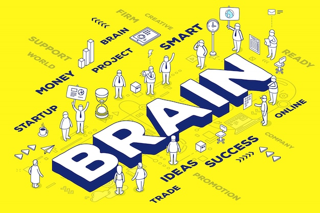 Illustration of three dimensional business word brain with people and tags on yellow background with scheme.