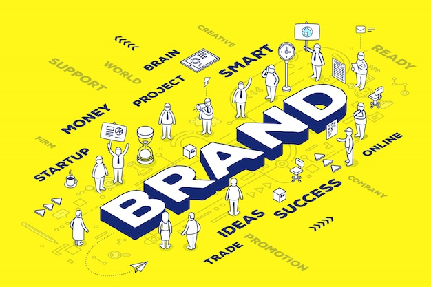 Illustration of three dimensional word brand with people and tags on yellow background with scheme. branding  technology concept.