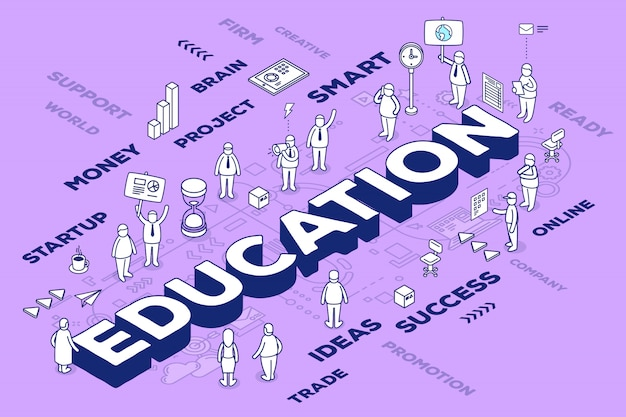 Illustration of three dimensional word education with people and tags on purple background with scheme. knowledge concept.