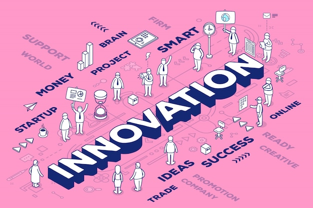 Illustration of three dimensional word innovation with people and tags on pink background with scheme.