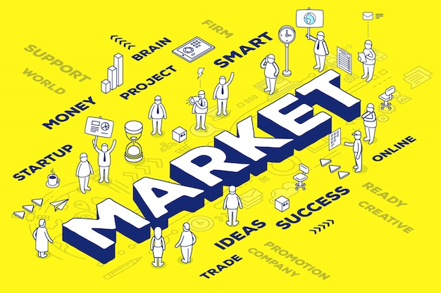 Illustration of three dimensional word market with people and tags on yellow background with scheme.