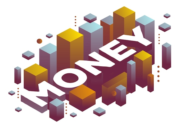 Illustration of three dimensional word money with abstract color shapes