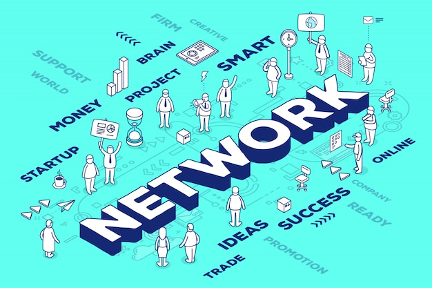 Illustration of three dimensional word network with people and tags on blue background with scheme.