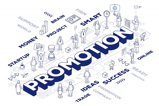 Illustration of three dimensional word promotion with people and tags on white background with scheme. promo technology concept.