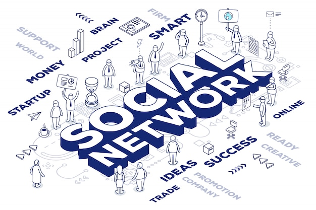 Illustration of three dimensional word social network with people and tags on white background with scheme.