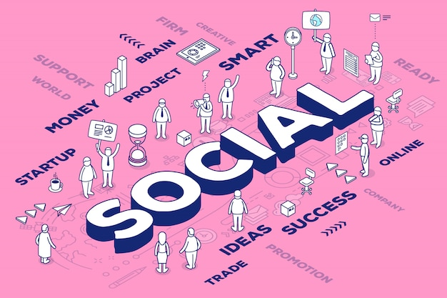 Illustration of three dimensional word social with people and tags on pink background with scheme.