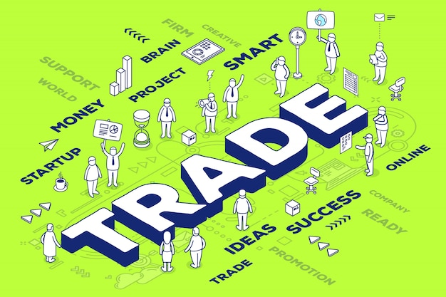 Illustration of three dimensional word trade with people and tags on green background with scheme.