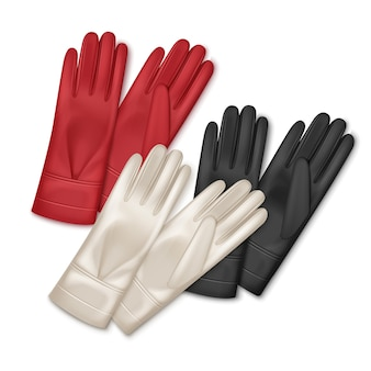 Illustration of three pair women leather gloves different colors isolated on white background