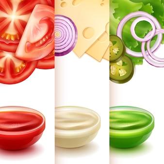 Illustration of three sauces
