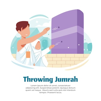 Illustration of throwing a few stones while doing hajj