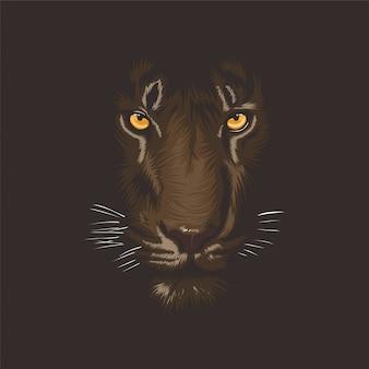 Illustration of tiger in darkness