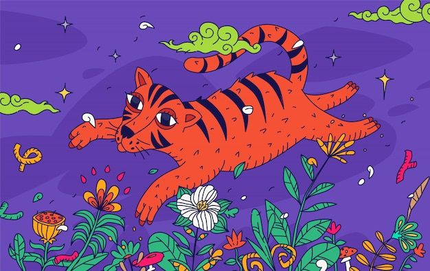 Illustration of a tiger flying over a field of flowers