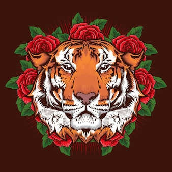 Illustration of tiger head and roses detailed design concept