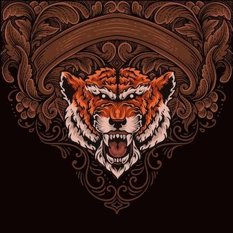 ヴィンテージ彫刻飾りとイラスト虎の頭