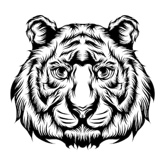 The illustration of the tiger's single head for the tattoo ideas